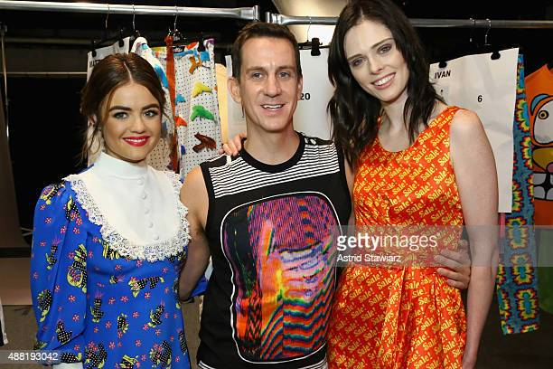 Actress Lucy Hale Fashion Designer Jeremy Scott and Fashion Model Coco Rocha with Kagome Greens At Jeremy Scott at Skylight at Moynihan Station on...