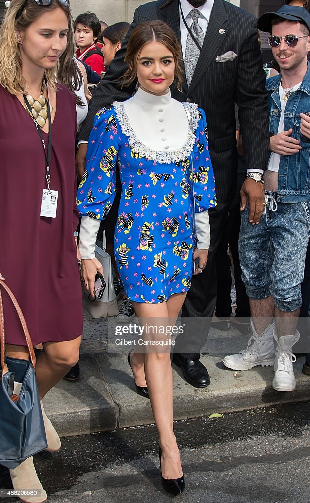 Actress Lucy Hale is seen arriving at Jeremy Scott fashion show during Spring 2016 New York Fashion Week on September 14, 2015 in New York City.