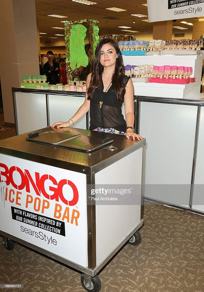 Actress <a gi-track='captionPersonalityLinkClicked' href=/galleries/search?phrase=Lucy+Hale&family=editorial&specificpeople=4430849 ng-click='$event.stopPropagation()'>Lucy Hale</a> kicks off summer at Sears showcasing Bongo's new summer trends on May 11, 2013 in North Hollywood, California.