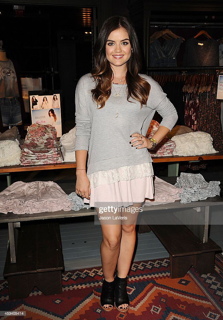 Actress <a gi-track='captionPersonalityLinkClicked' href=/galleries/search?phrase=Lucy+Hale&family=editorial&specificpeople=4430849 ng-click='$event.stopPropagation()'>Lucy Hale</a> launches her first collection at Hollister on August 9, 2014 in Los Angeles, California.