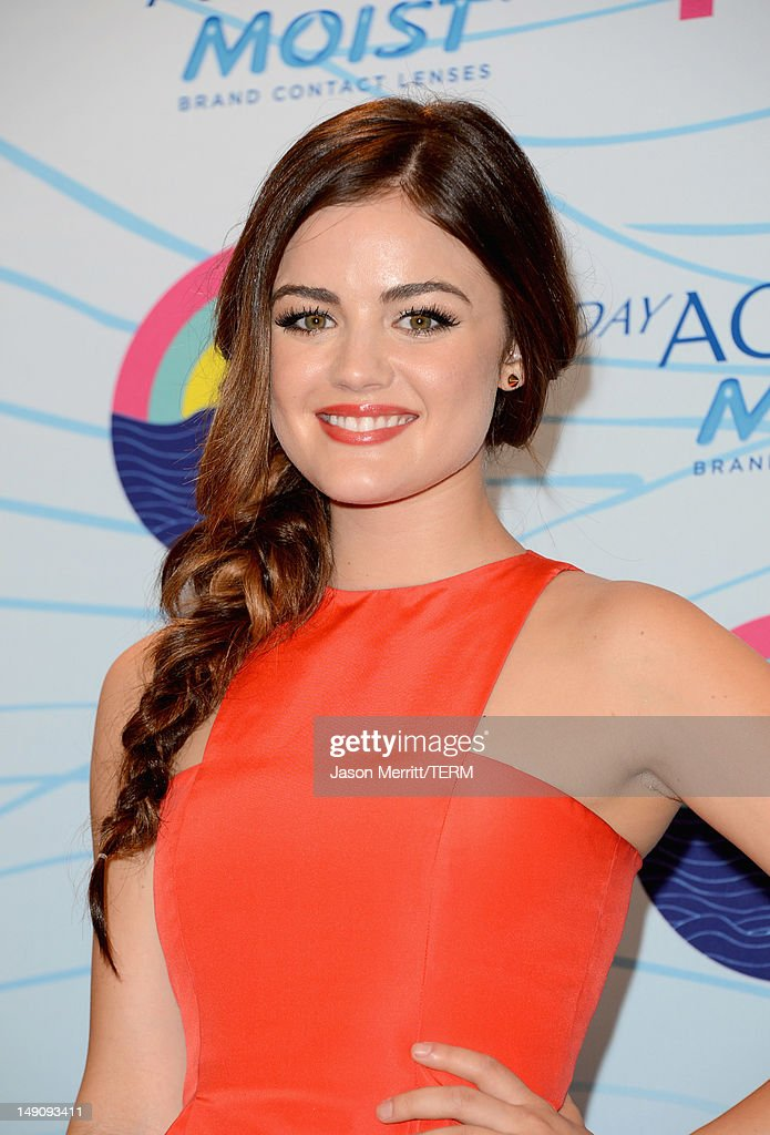 Actress Lucy Hale poses in the press room during the 2012 Teen Choice Awards at Gibson Amphitheatre on July 22, 2012 in Universal City, California.