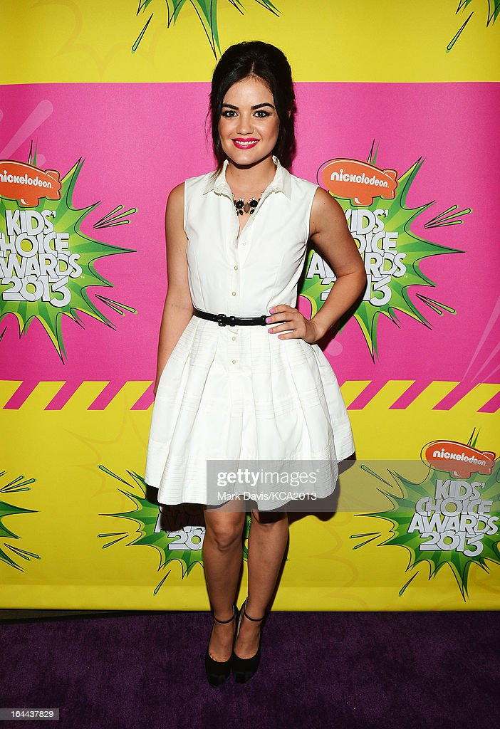 Actress Lucy Hale seen backstage at Nickelodeon's 26th Annual Kids' Choice Awards at USC Galen Center on March 23, 2013 in Los Angeles, California.