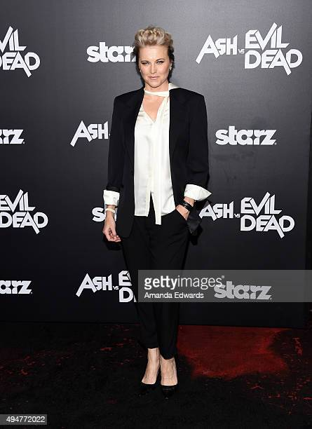 Actress Lucy Lawless arrives at the premiere of STARZ's 'Ash Vs Evil Dead' at TCL Chinese Theatre on October 28 2015 in Hollywood California