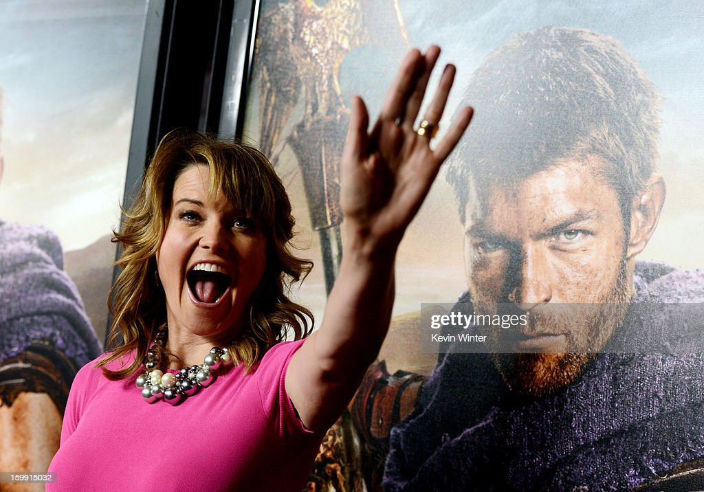 Actress Lucy Lawless arrives at the premiere of Starz's 'Spartacus: War Of The Damned' at the Regal Cinemas L.A. Live on January 22, 2013 in Los Angeles, California.