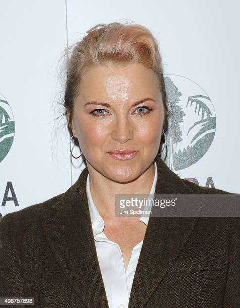 Actress Lucy Lawless attends the Sierra Club's Act In Paris a night of comedy and climate action at Heath at the McKittrick Hotel on November 11 2015...