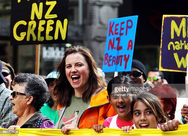Actress Lucy Lawless joins protesters as they march against mining up Queen Street on May 1 2010 in Auckland New Zealand The New Zealand Government...