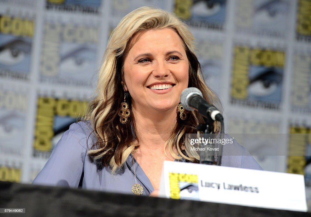 Actress Lucy Lawless speaks on stage during the 'Ash vs Evil Dead' panel during Comic-Con International at the San Diego Convention Center on July 23, 2016 in San Diego, California.