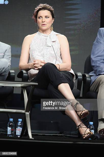 Actress Lucy Lawless speaks onstage during the 'Ash vs Evil Dead' panel discussion at the Starz portion of the 2016 Television Critics Association...