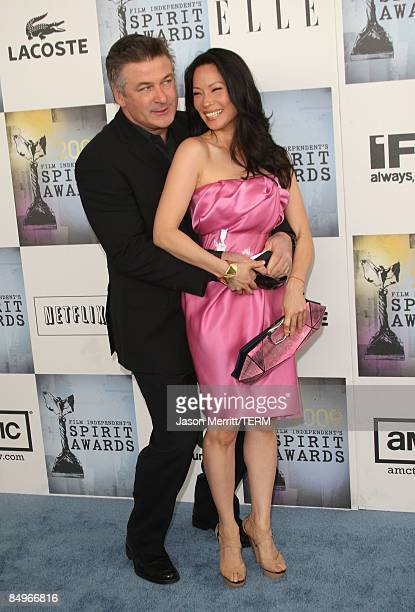 Actress Lucy Liu and Alec Baldwin arrive at the 24th Annual Film Independent's Spirit Awards held at Santa Monica Beach on February 21 2009 in Santa...