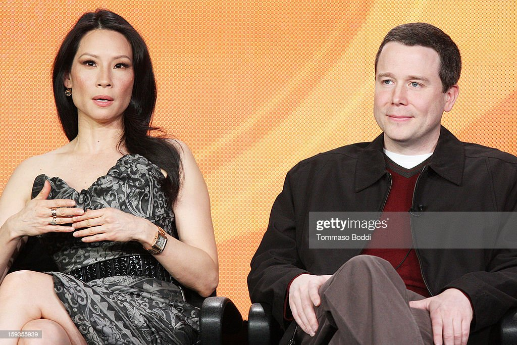 Actress Lucy Liu (L) and EP Robert Doherty of the TV show 'Elementary' attends the 2013 TCA Winter Press Tour CW/CBS panel held at The Langham Huntington Hotel and Spa on January 12, 2013 in Pasadena, California.