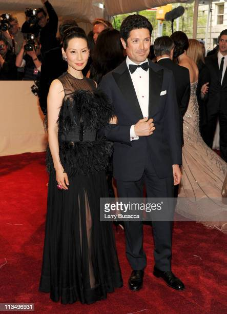 Actress Lucy Liu and Matteo Marzotto attend the 'Alexander McQueen Savage Beauty' Costume Institute Gala at The Metropolitan Museum of Art on May 2...
