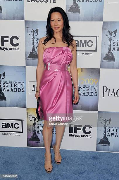 Actress Lucy Liu arrives at Film Independent's 2009 Independent Spirit Awards held at the Santa Monica Pier on February 21 2009 in Santa Monica...