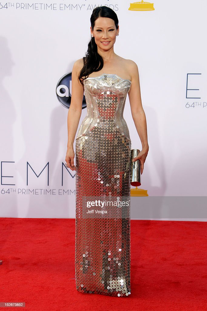 Actress Lucy Liu arrives at the 64th Primetime Emmy Awards at Nokia Theatre L.A. Live on September 23, 2012 in Los Angeles, California.