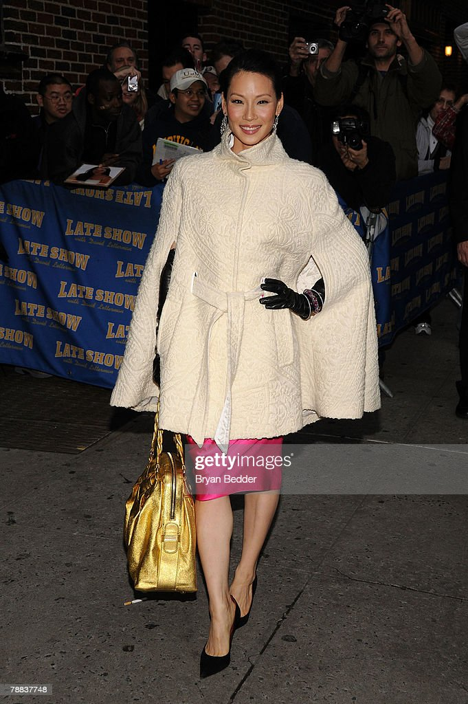 Actress Lucy Liu arrives at the Ed Sullivan Theater before a taping of the Late Show with David LettermanJanuary 8 2008 in New York City