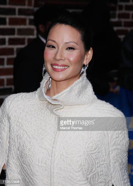Actress Lucy Liu arrives for a taping of 'Late Show with David Letterman' at the Ed Sullivan Theater on January 8 2008 in New York City