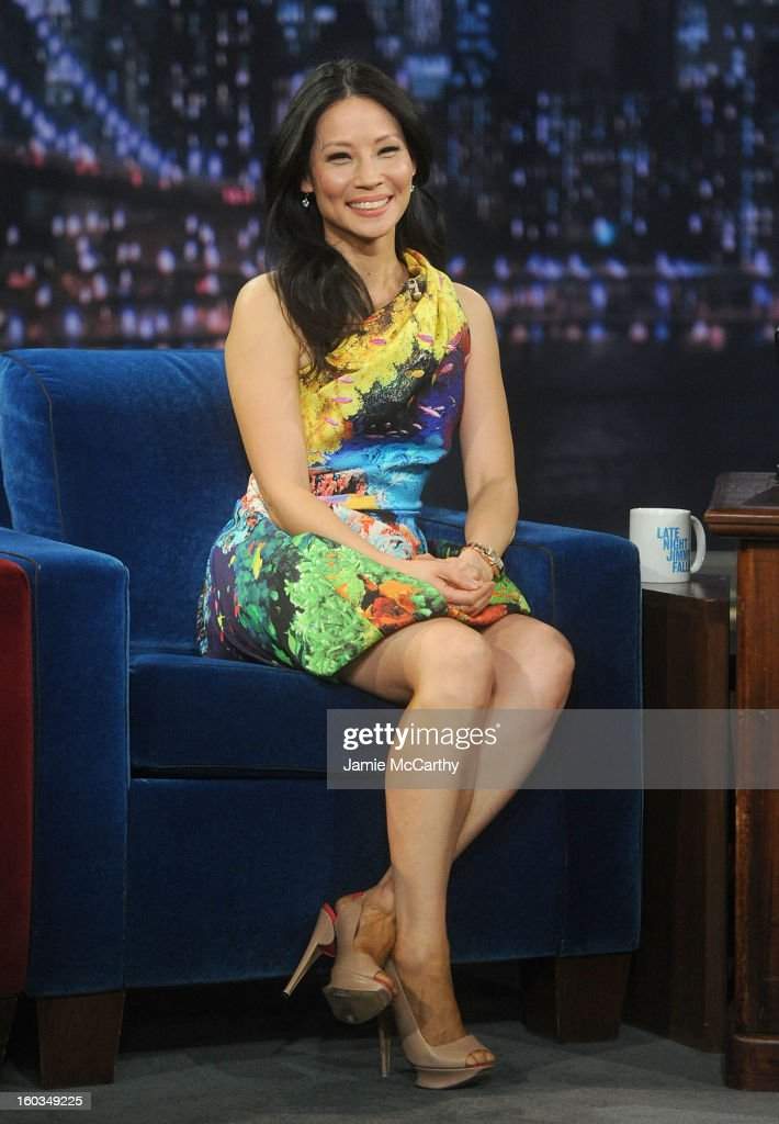 Actress Lucy Liu visits 'Late Night With Jimmy Fallon' at Rockefeller Center on January 29, 2013 in New York City.