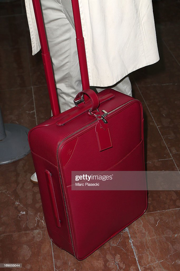 Actress Ludivine Sagnier (luggage detail) is sighted at Nice airport after the 66th Annual Cannes Film Festival on May 27, 2013 in Nice, France.
