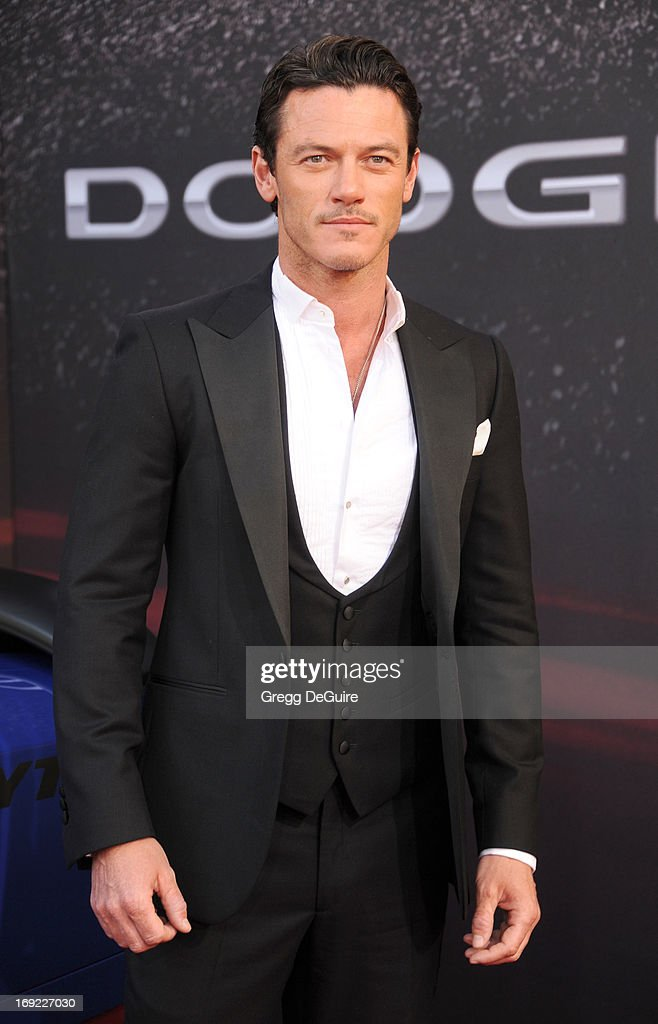 Actress Luke Evans arrives at the Los Angeles premiere of 'Fast & The Furious 6' at Gibson Amphitheatre on May 21, 2013 in Universal City, California.