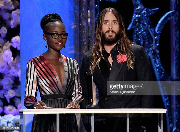 Actress Lupita Nyong'o and actor Jared Leto speak onstage at the 21st Annual Screen Actors Guild Awards at The Shrine Auditorium on January 25 2015...