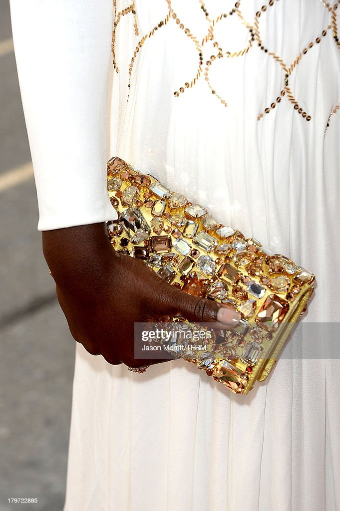 Actress Lupita Nyong'o (purse detail) arrives at the '12 Years A Slave' Premiere during the 2013 Toronto International Film Festival Princess of Wales Theatre on September 6, 2013 in Toronto, Canada.