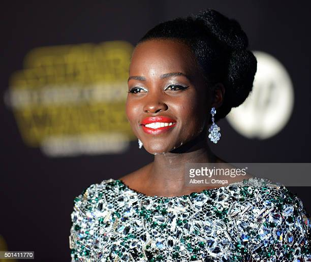 Actress Lupita Nyong'o arrives for the Premiere Of Walt Disney Pictures And Lucasfilm's 'Star Wars The Force Awakens' held on December 14 2015 in...