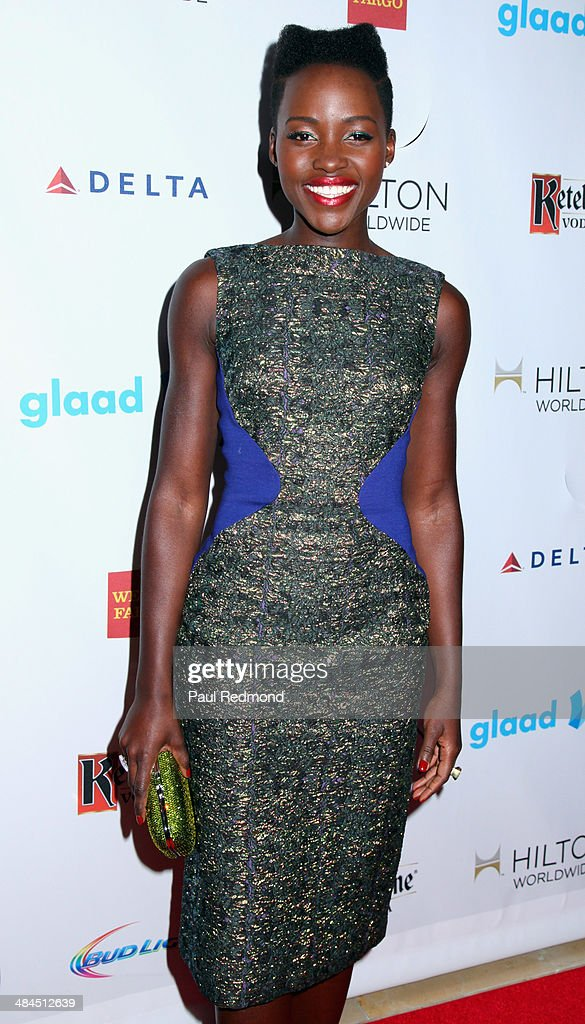 Actress <a gi-track='captionPersonalityLinkClicked' href=/galleries/search?phrase=Lupita+Nyong%27o&family=editorial&specificpeople=10961876 ng-click='$event.stopPropagation()'>Lupita Nyong'o</a> arriving at the 25th Annual GLAAD Media Awards at The Beverly Hilton Hotel on April 12, 2014 in Beverly Hills, California.
