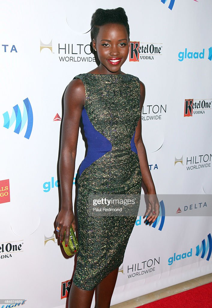 Actress Lupita Nyong'o (hairstyle detail) at the 25th Annual GLAAD Media Awards at The Beverly Hilton Hotel on April 12, 2014 in Beverly Hills, California.