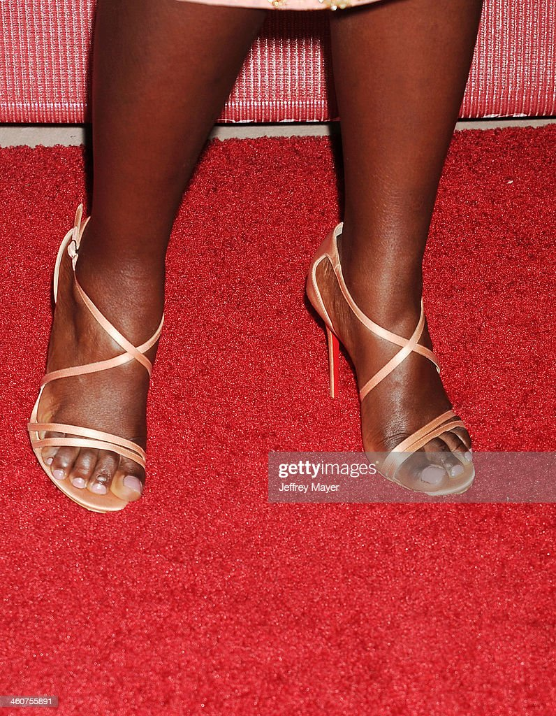 Actress <a gi-track='captionPersonalityLinkClicked' href=/galleries/search?phrase=Lupita+Nyong%27o&family=editorial&specificpeople=10961876 ng-click='$event.stopPropagation()'>Lupita Nyong'o</a> (shoe detail) at the 25th Annual Palm Springs International Film Festival Awards Gala at Palm Springs Convention Center on January 4, 2014 in Palm Springs, California.