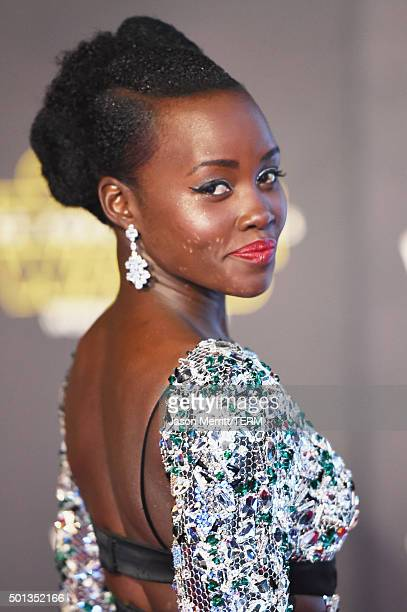 Actress Lupita Nyong'o attends Premiere of Walt Disney Pictures and Lucasfilm's 'Star Wars The Force Awakens' on December 14 2015 in Hollywood...