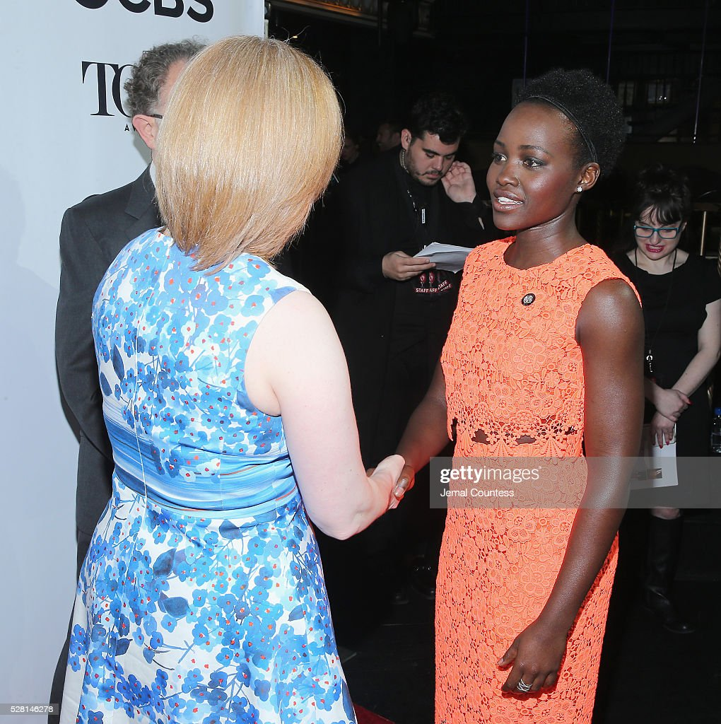 Actress <a gi-track='captionPersonalityLinkClicked' href=/galleries/search?phrase=Lupita+Nyong%27o&family=editorial&specificpeople=10961876 ng-click='$event.stopPropagation()'>Lupita Nyong'o</a> (R) attends the 2016 Tony Awards Meet The Nominees Press Reception on May 4, 2016 in New York City.