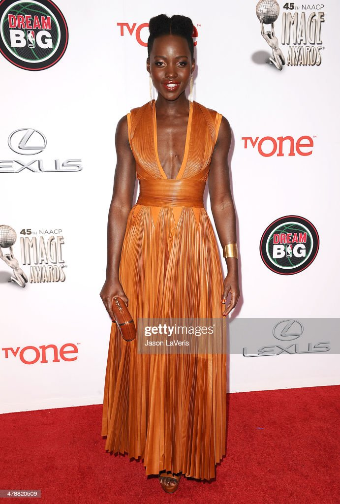 Actress <a gi-track='captionPersonalityLinkClicked' href=/galleries/search?phrase=Lupita+Nyong%27o&family=editorial&specificpeople=10961876 ng-click='$event.stopPropagation()'>Lupita Nyong'o</a> attends the 45th NAACP Image Awards at Pasadena Civic Auditorium on February 22, 2014 in Pasadena, California.