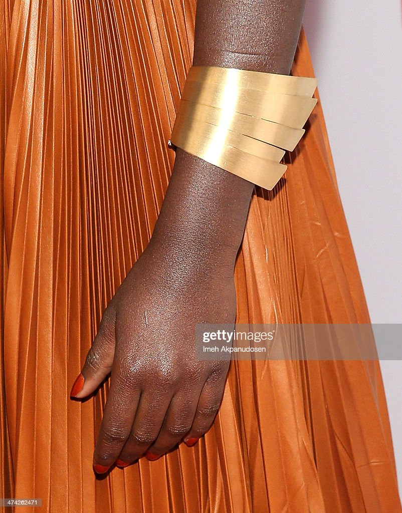 Actress Lupita Nyong'o (fashion detail) attends the 45th NAACP Image Awards presented by TV One at Pasadena Civic Auditorium on February 22, 2014 in Pasadena, California.