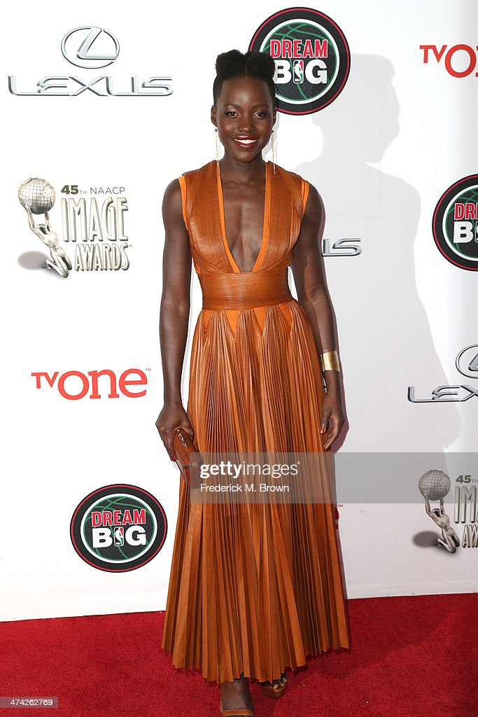 Actress <a gi-track='captionPersonalityLinkClicked' href=/galleries/search?phrase=Lupita+Nyong%27o&family=editorial&specificpeople=10961876 ng-click='$event.stopPropagation()'>Lupita Nyong'o</a> attends the 45th NAACP Image Awards presented by TV One at Pasadena Civic Auditorium on February 22, 2014 in Pasadena, California.