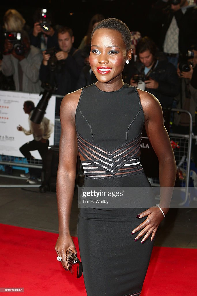 Actress Lupita Nyong'o attends the European Premiere of 'Twelve Years A Slave' during the 57th BFI London Film Festival at Odeon Leicester Square on October 18, 2013 in London, England.