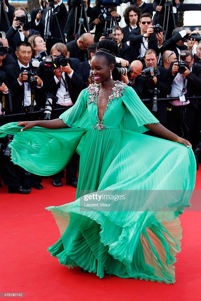 Actress Lupita Nyong'o attends the opening ceremony and 'La Tete Haute' premiere during the 68th annual Cannes Film Festival on May 13 2015 in Cannes...