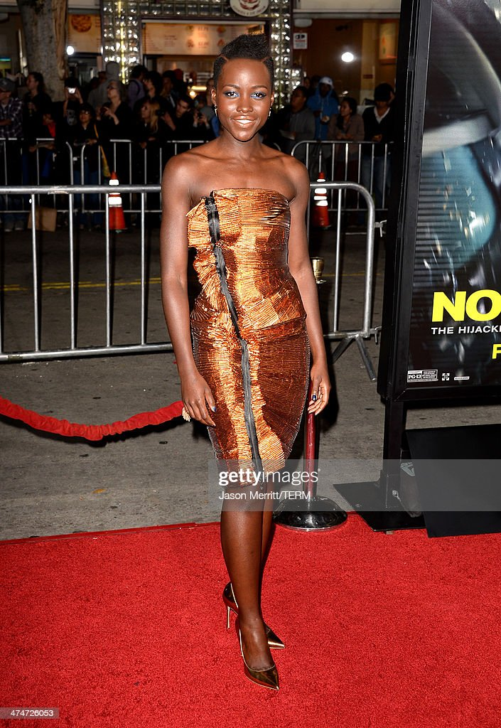 Actress <a gi-track='captionPersonalityLinkClicked' href=/galleries/search?phrase=Lupita+Nyong%27o&family=editorial&specificpeople=10961876 ng-click='$event.stopPropagation()'>Lupita Nyong'o</a> attends the premiere of Universal Pictures and Studiocanal's 'Non-Stop' at Regency Village Theatre on February 24, 2014 in Westwood, California.