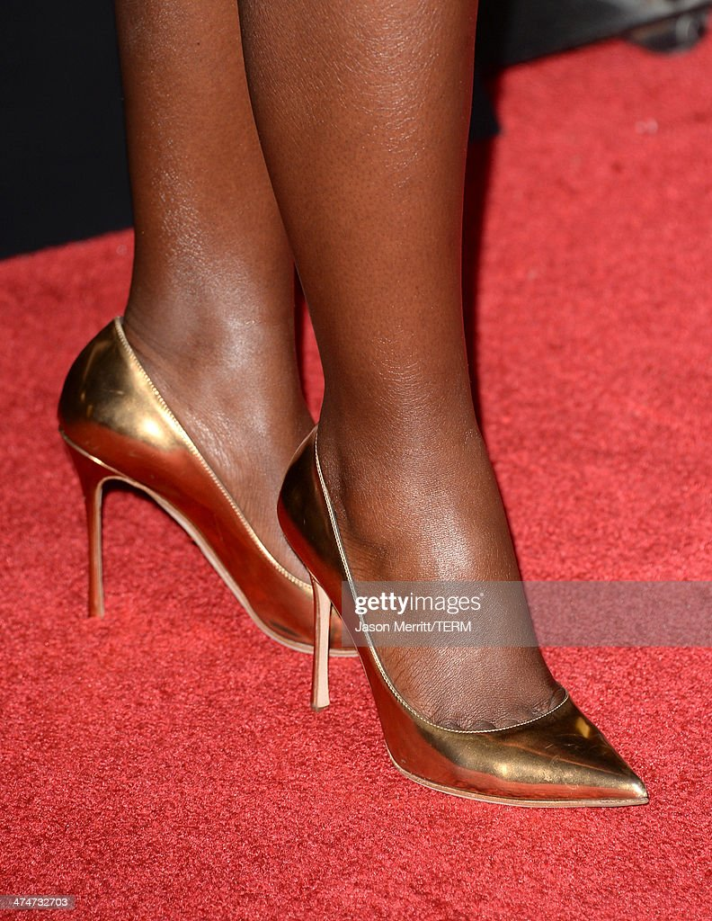 Actress Lupita Nyong'o (shoe detail) attends the premiere of Universal Pictures and Studiocanal's 'Non-Stop' at Regency Village Theatre on February 24, 2014 in Westwood, California.