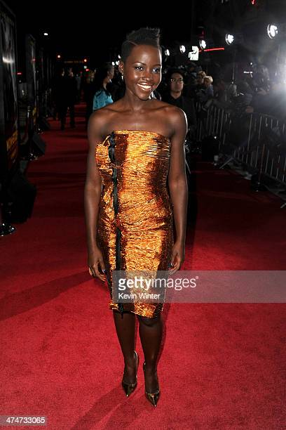 Actress Lupita Nyong'o attends the premiere of Universal Pictures and Studiocanal's 'NonStop' at Regency Village Theatre on February 24 2014 in...