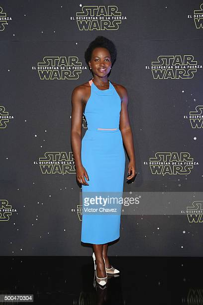 Actress Lupita Nyong'o attends the 'Star Wars The Force Awakens' Mexico City photo call at St Regis Hotel on December 8 2015 in Mexico City Mexico