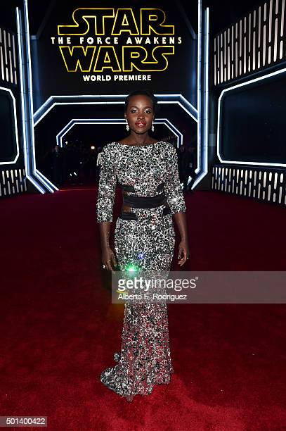 "Actress Lupita Nyong'o attends the World Premiere of ""Star Wars The Force Awakens"" at the Dolby El Capitan and TCL Theatres on December 14 2015 in..."