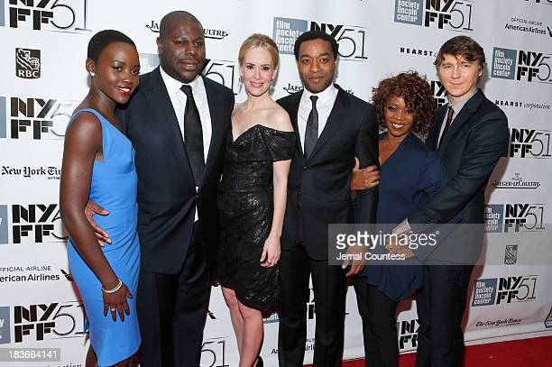 Actress Lupita Nyong'o director Steve McQueen actress Sarah Paulson actor Chiwetel Ejiofor actress Alfre Woodard and actor Paul Dano attend the 'All...
