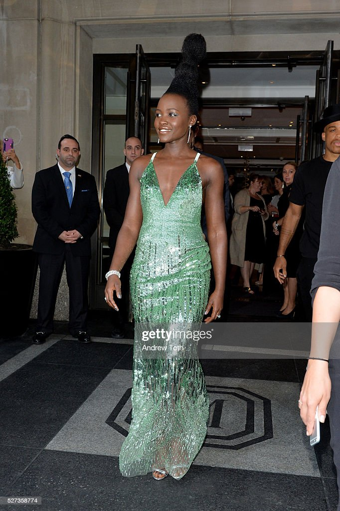 Actress Lupita Nyong'o leaves from The Mark Hotel for the 2016 'Manus x Machina: Fashion in an Age of Technology' Met Gala on May 2, 2016 in New York City.