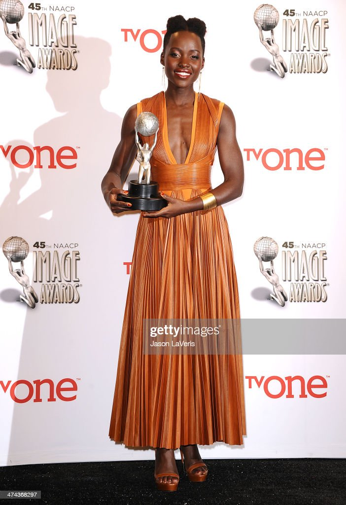 Actress <a gi-track='captionPersonalityLinkClicked' href=/galleries/search?phrase=Lupita+Nyong%27o&family=editorial&specificpeople=10961876 ng-click='$event.stopPropagation()'>Lupita Nyong'o</a> poses in the press room at the 45th NAACP Image Awards at Pasadena Civic Auditorium on February 22, 2014 in Pasadena, California.