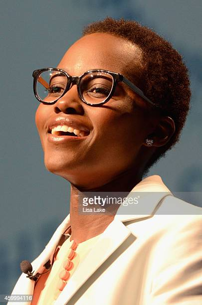 Actress Lupita Nyong'o speaks on stage at the 2014 Massachusetts Conference for Women at Boston Convention Exhibition Center on December 4 2014 in...