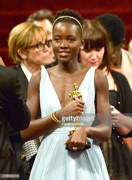 Actress Lupita Nyong'o winner of Best Performance by an Actress in a Supporting Role departs the Oscars at Hollywood Highland Center on March 2 2014...