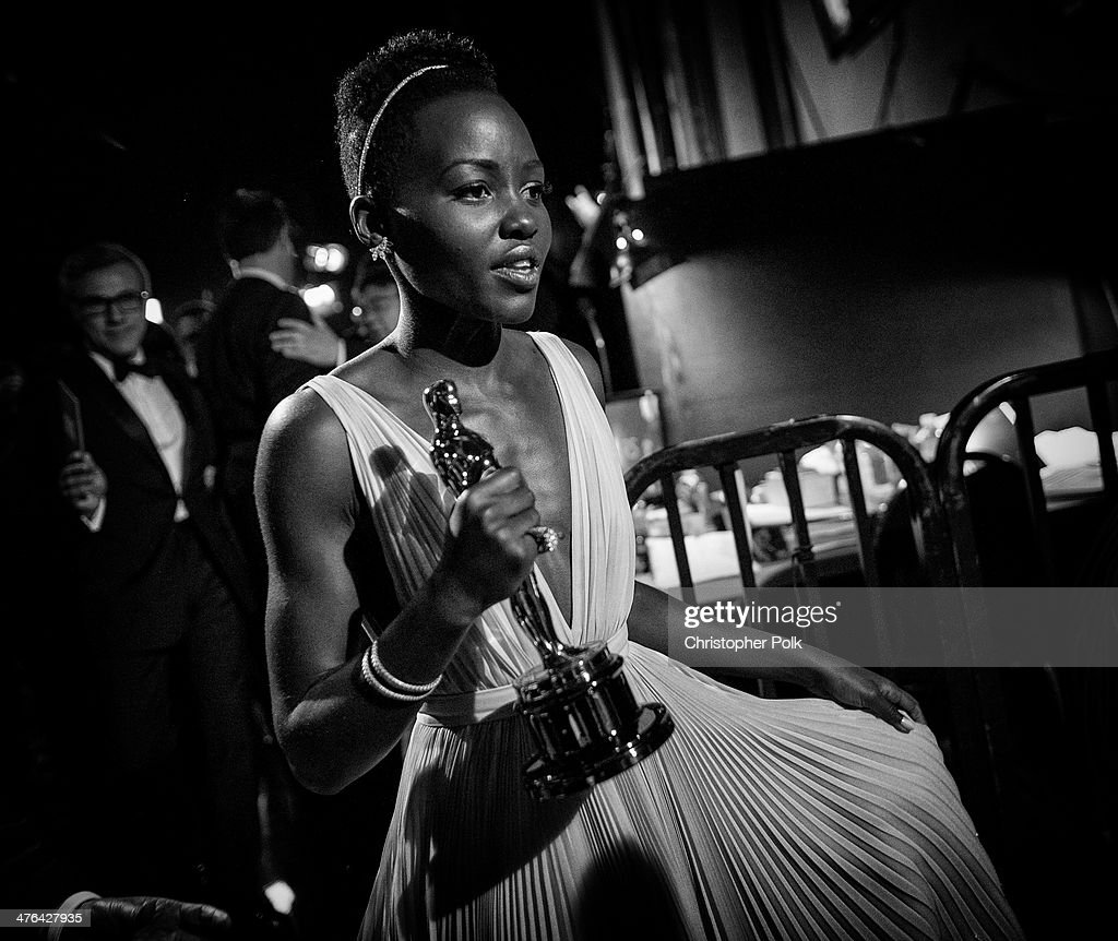 Actress <a gi-track='captionPersonalityLinkClicked' href=/galleries/search?phrase=Lupita+Nyong%27o&family=editorial&specificpeople=10961876 ng-click='$event.stopPropagation()'>Lupita Nyong'o</a>, winner of Best Performance by an Actress in a Supporting Role backstage during the Oscars held at Dolby Theatre on March 2, 2014 in Hollywood, California.