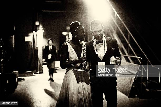 Actress Lupita Nyong'o winner of Best Performance by an Actress in a Supporting Role backstage during the 86th Annual Academy Awards held at Dolby...