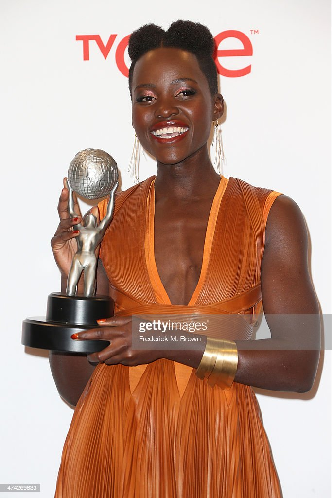 Actress Lupita Nyong'o, winner of the Outstanding Supporting Actress in a Motion Picture award for '12 Years a Slave,' poses in the press room during the 45th NAACP Image Awards presented by TV One at Pasadena Civic Auditorium on February 22, 2014 in Pasadena, California.