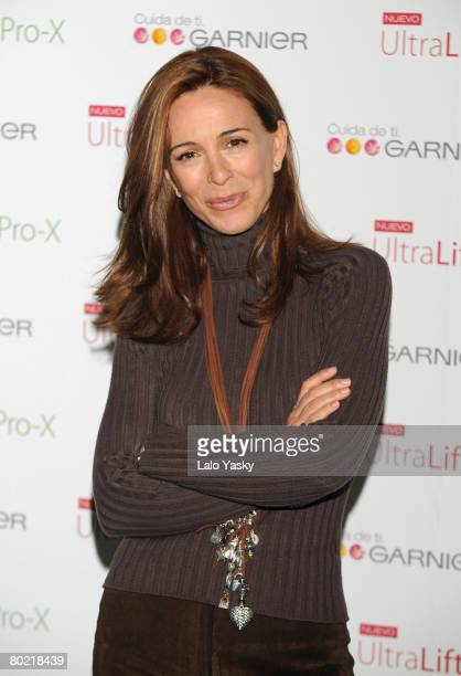 Actress Lydia Bosch unveiled as new face of Garnier cosmetics at Thai Garden on March 12 2008 in Madrid Spain