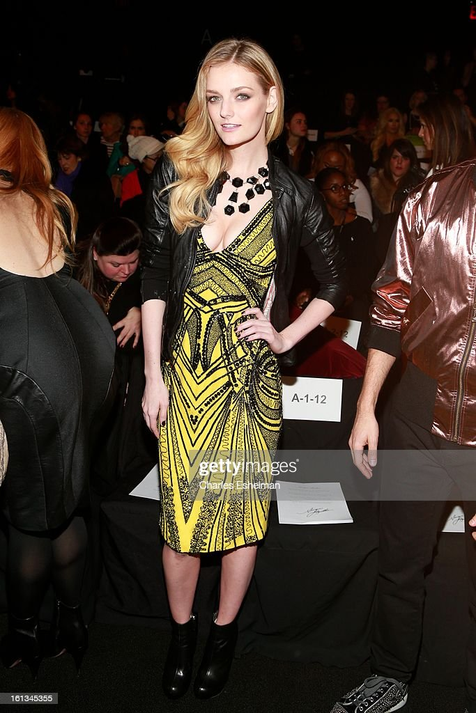 Actress Lydia Hearst attends the Monique Lhuillier Fall 2013 Mercedes-Benz Fashion Show at The Theater at Lincoln Center on February 9, 2013 in New York City.